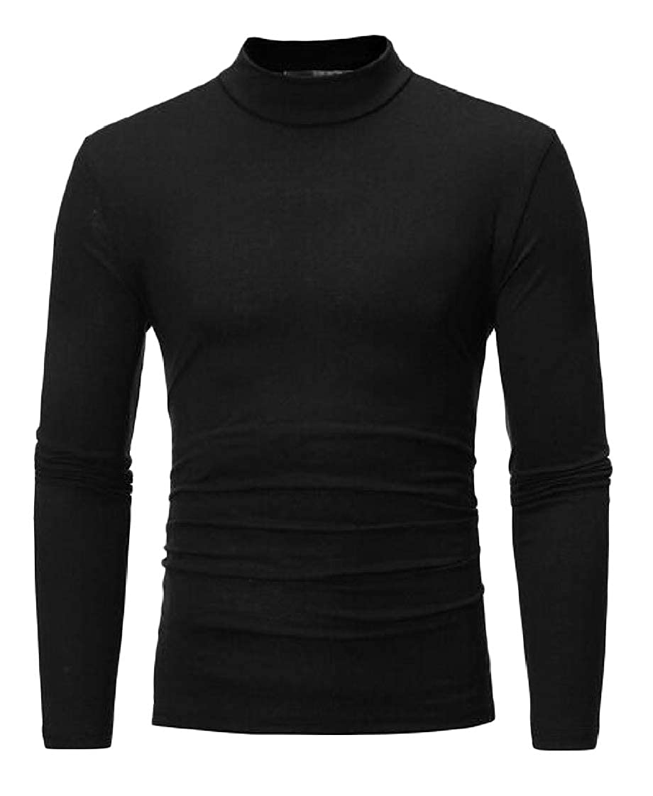 Etecredpow Mens Long-Sleeve Mock Turtle Neck Solid Color Casual Tops T-Shirt