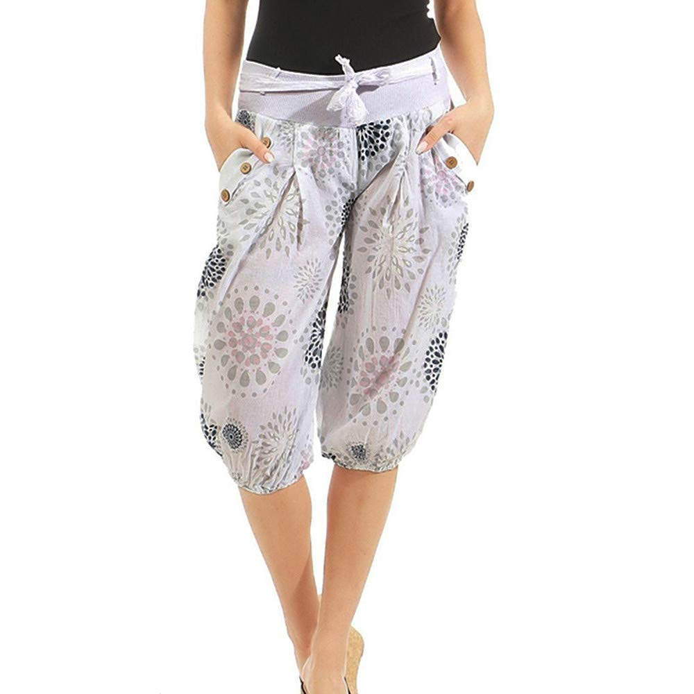 UONQD Womens Pants Ladies Not Positioned Printing Dot Floral Trousers Bloom (XXX-Large,White)