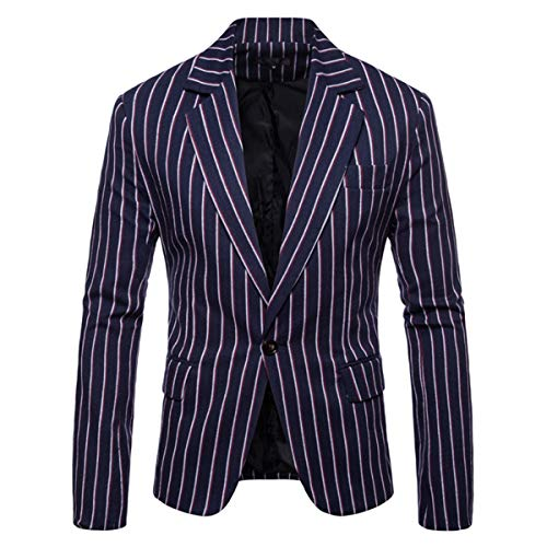 Men's Casual Pinstripe Sport Coat Notch Lapel Classic Fit Printed Blazer Navy