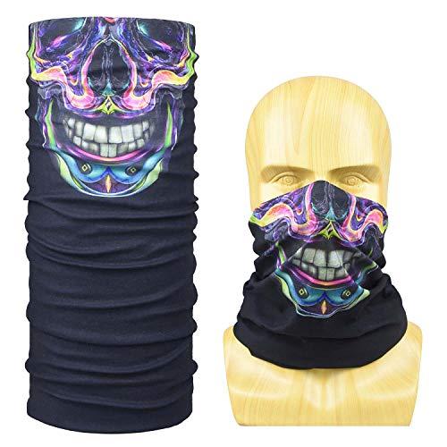 PHOCOENA 16-in-1 Bandana, Work as Fishing face Mask, Sports Headbands, Multifunctional Headwear with Wind/Sun/UV Protection for Outdoor Fishing, Motorcycling, Hunting, Hiking, Yoga-Skull]()