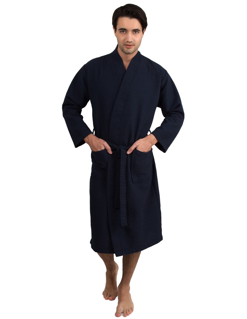 TowelSelections Men's Robe, Kimono Waffle Spa Bathrobe Large/X-Large Navy by TowelSelections