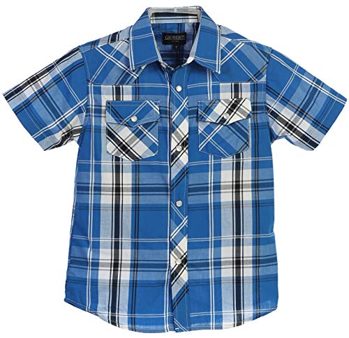 (Gioberti Boys Casual Western Plaid Pearl Snap Short Sleeve Shirt, Bright Turquoise : Size 8)