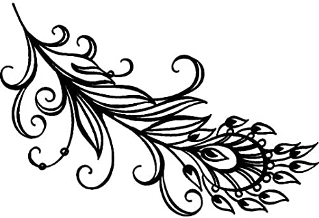 RS00001316 A7 Peacock Feather Unmounted Rubber Stamp