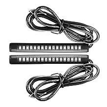 XCSOURCE 2pcs Universal 17 LED 2835 SMD Running + Turn Signal Strip White + Amber for Car Vehicle Motorcycle Bike SUV MA616