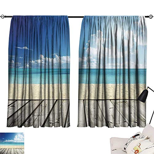 Anzhutwelve Room Darkening Curtains Landscape,Tropical Beach from Wooden Pier with Sky Landscape Summer View Image,Cream Turquoise White W63 x L45 Draperies for Girls Room ()