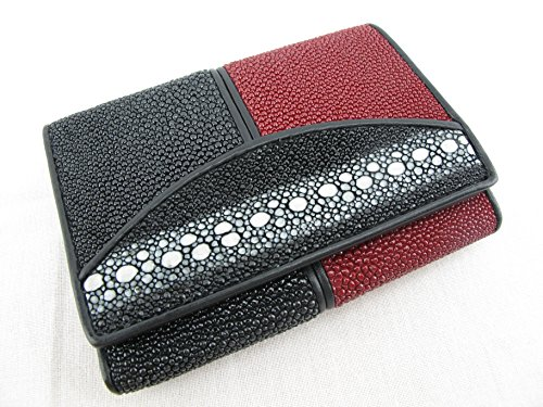 PELGIO Genuine Row Diamond Stingray Skin Leather Trifold Wallet Black (Black & Red)