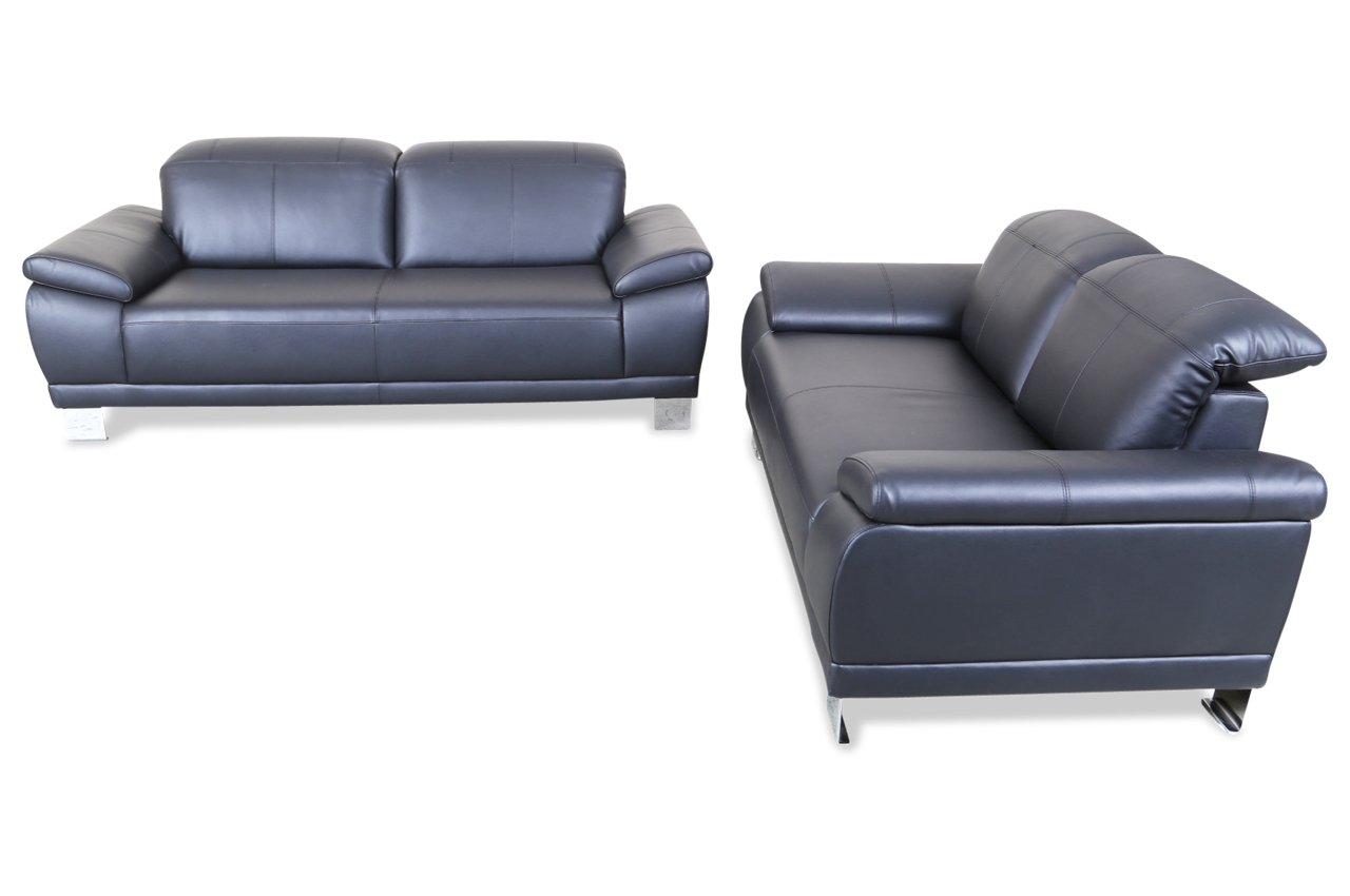Sofa Atlantic Collection Leder Garnitur 3-2 Ulf - Schwarz - Echt-Leder Schwarz