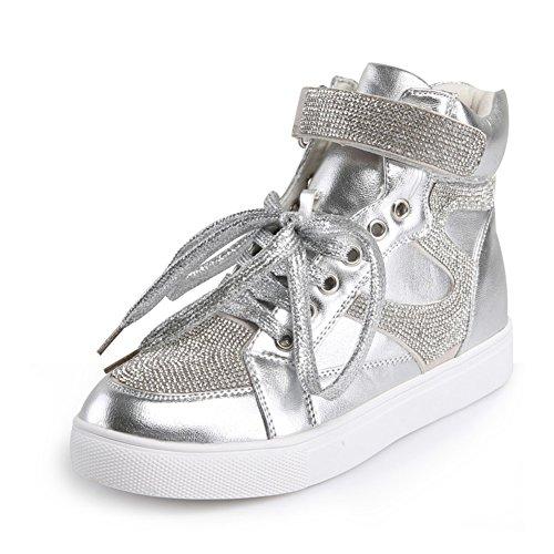 Sneaker Da Donna In Velcro, Sneaker Sportivo Traspirante, Scarpe Sportive Da Caviglia Con Diamante Argento