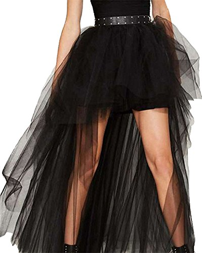 COSWE Damen Röcke Steampunk Gothic Vintage Mehrfarbig Lagig Chiffon Spitze  Party Cocktail Rock