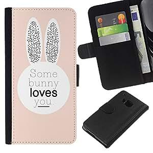 iBinBang / Flip Funda de Cuero Case Cover - Bunny Love Usted Peach orejas de conejo lindo - HTC ONE M7