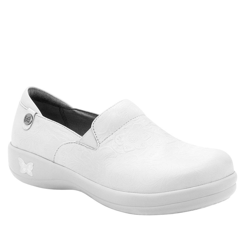 Alegria Womens Keli Clog White Tooled Size 37 EU (7-7.5 M US Women)