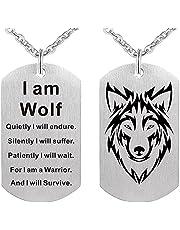 SOTUVO Ketting Mode Wolf Ketting Hond Tag Hanger voor Mannen Jongen Army Soldaat Ik ben Wolf Fans Punk Cool Sieraden