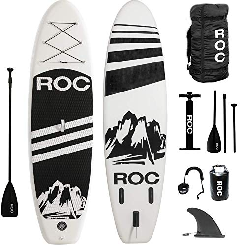 Roc Inflatable Stand Up Paddle Boards W Free Premium SUP Accessories & Backpack { Non-Slip Deck } Bonus Waterproof Bag, Leash, Paddle and Hand Pump !!! Youth & Adult (Black) (Renewed)