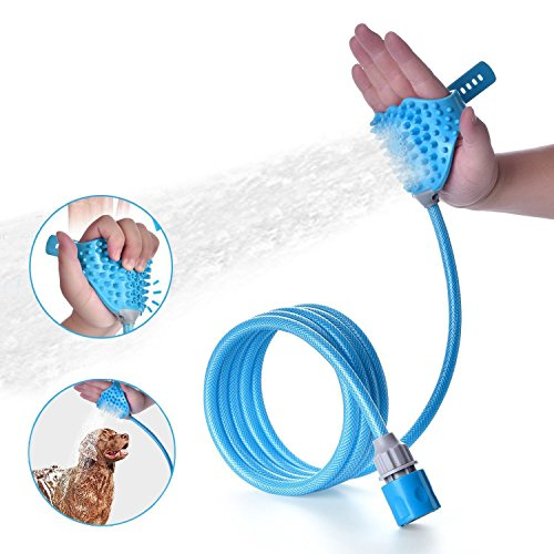 SIKSIN Pet Bathing Shower Sprayer Massage Scrubber in-One Carry, Adjustable Handheld Grooming Shower Head Brush for Bath Tub & Outdoor Garden Use with 2 Hose Faucet Adapter, Blue ()