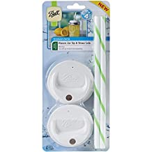 Ball 1440015010 Sip and Straw Lids (each pack includes a set of 4) which fit a Wide Mouth Mason Jar (jar not included)