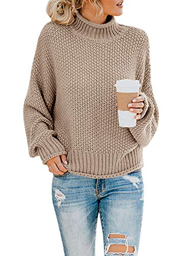 Saodimallsu Womens Turtleneck Oversized Sweaters Batwing Long Sleeve Pullover Loose Chunky Knit Jumper Khaki