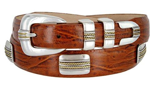 (Mens Golden Rope Genuine Italian Calfskin Leather Designer Dress Golf Belt (Lizard Tan, 38))
