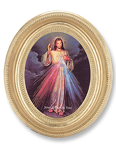 Divine Mercy Italian Oval Gold Leaf 4 3/4