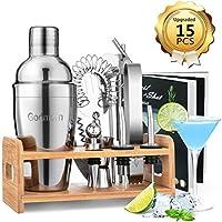 Godmorn Cocktail Set, Edelstahl Cocktail Shaker Set, 15 Teiliges Barkeeper Set mit Bessere Bambus Ständer, Rezeptbuch,...