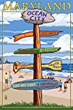 Ocean City, Maryland - Sign Destinations (24x36 Giclee Gallery Print, Wall Decor Travel Poster)