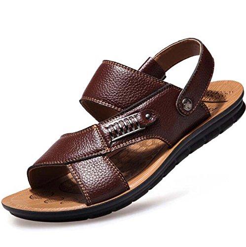 Sandalias Libre Sandalias al para Marrón Caminar Confort Suela Hombres Oficina para y Aire Hebilla Carrera para Informal Ligera remachada Zapatos qrIwrUCxa
