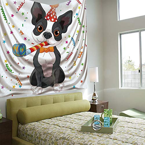 Fashionable Personality Tapestry Home Decoration Background Elastic Living Room,Birthday Decorations for Kids,Black and White Boston Terrier with Colorful Party Backdrop,Multicolor ()