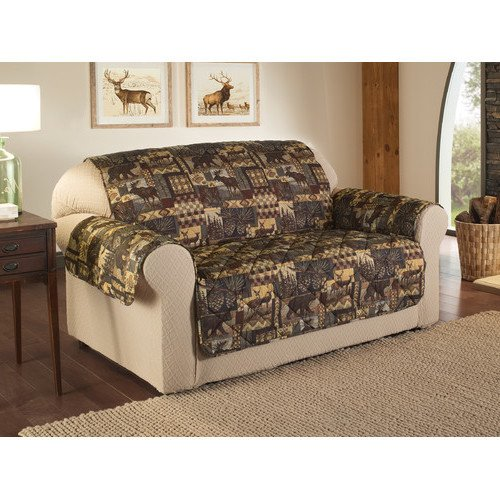 1 Piece Brown Black Cabin Theme Sofa Love Protector, Animal Print Bears Moose Deer Hunting Cottage Lake House Plaid Checked Pattern Couch Furniture Protection Cover Pets Covers Nature Woods, Polyester