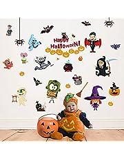 Happy Halloween Stickers Kids Bedroom Decor Indoor Outdoor Removable Wall Decals Window Art Decoration Vinyl Witch Bat Spider Vampire for Boys Girls Room