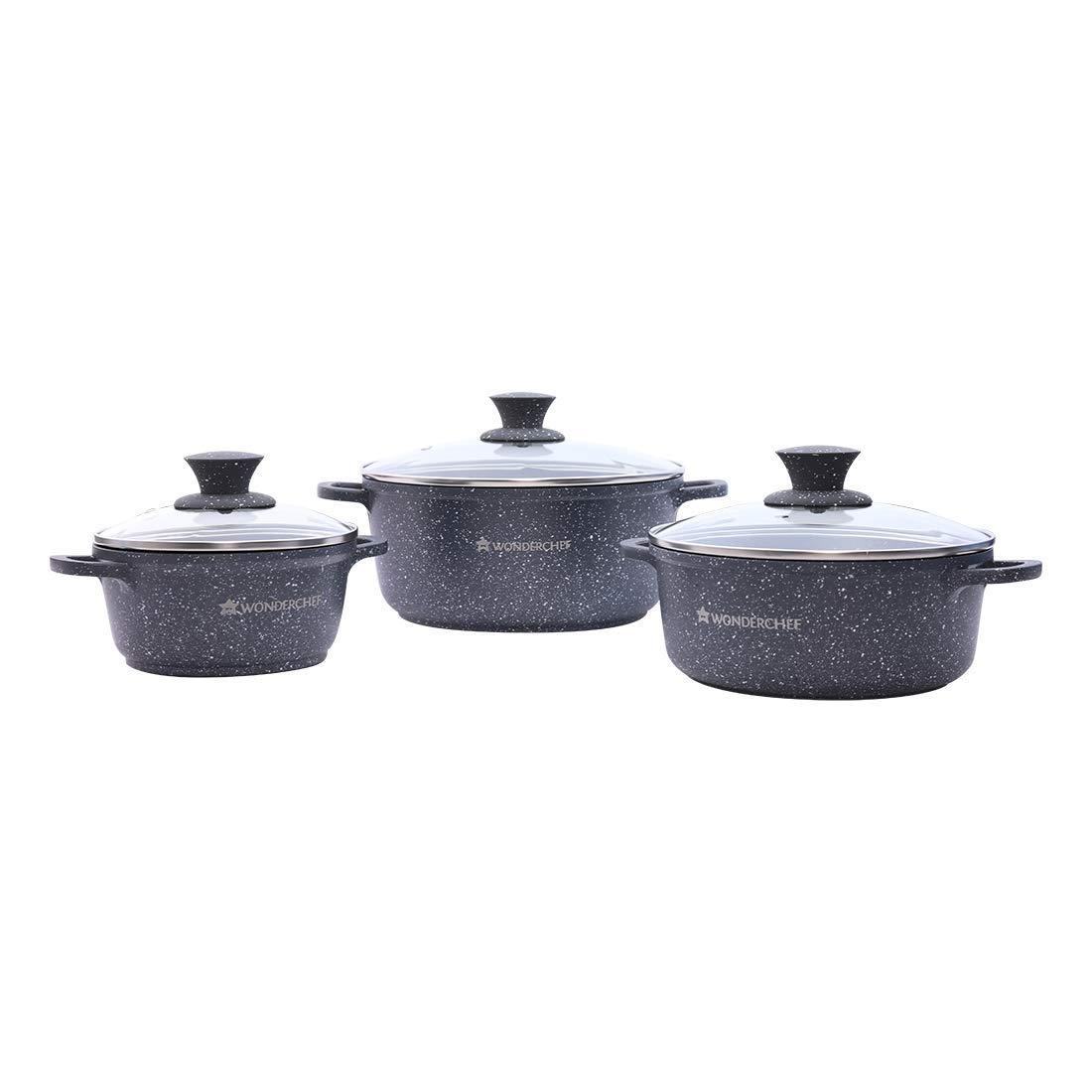 Granite Non-Stick 6-Piece Casserole Set with Lids, Induction Bottom, Soft-Touch Handles, Virgin Grade Aluminium, PFOA/Heavy Metals Free, 3.5mm, 2 Years Warranty, Grey
