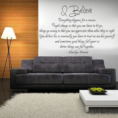 Imprinted Designs Marilyn Monroe Quote. I Believe Vinyl Wall Decal Pick Your Size