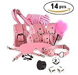 Bantie 14 PCS BDSM Bondage Set for Restraint with Restraint Kit Neck Collar Handcuffs Ankle Cuff Thigh Straps Fetish Restraints for Adult Sex Toys-Pink