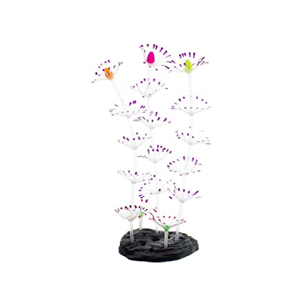 UKCOCO Luminoso Falso Coral Planta Artificial Plástico Decoración para Acuario Pecera (Púrpura)