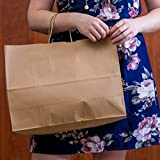 "Incredible Packaging- 16"" x 6"" x 12"" Kraft Paper Bags with Handles for Shopping, Retail and Merchandise. Strong and Reusable - 60 Bags Count - 80 Paper Thickness (Brown)"