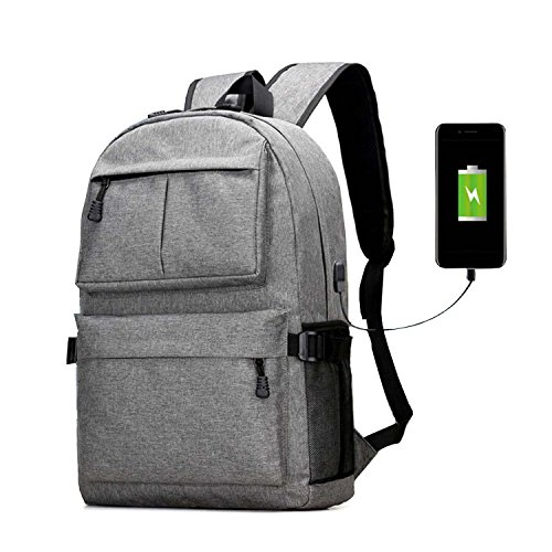 Laptop Backpack, Clothink College School Backpack with USB Charging Port, Lightweight Casual Travel Bag For Men Women, Fit 15.6 Inch Laptops & Tablets, Gray