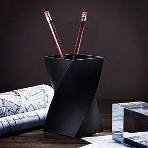 Zodaca [Wave Design Pen Holder Soft Touch Wave Pen Pencil Ruler Cup Holder Desktop Stationery Organizer, Black