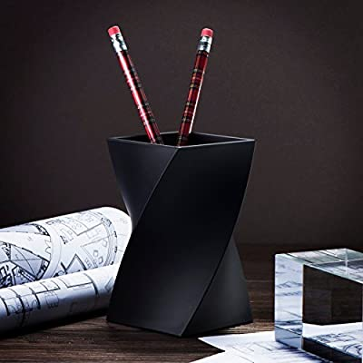 Zodaca [Wave Design Pen Holder Soft Touch Wave Pen Pencil Ruler Cup Holder Desktop Stationery Organizer, Black