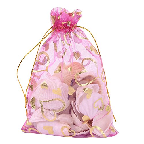 Pandahall 100 PCS 5x7 Inches Heart Printed Orchid Organza Bags Jewelry Pouch Bags Organza Velvet Drawstring Pouches Wedding Favors Candy Gift Bags