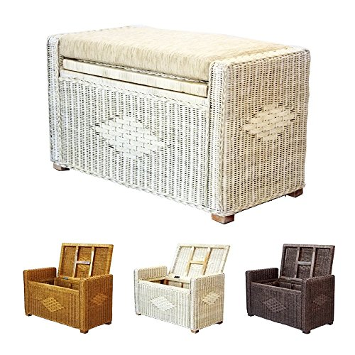 Bruno Handmade 32 Inch Rattan Wicker Chest Storage Trunk Organizer Ottoman W/Cushion White Wash ()