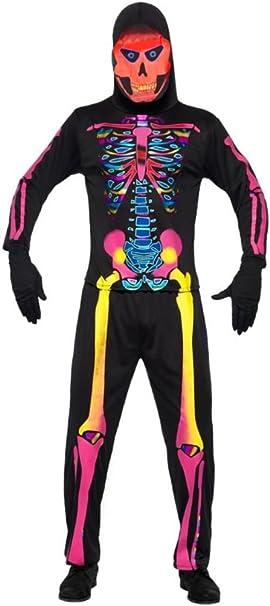 Halloween Kostuem Skelett Amazon.Smiffys Skelettkostum Kostum Skelett Fur Herren Neon Bunt Halloween Herrenkostum Halloweenkostum Knochen Gr 48 50 M 52 54 L 54 56 Xl Smiffys Amazon De Bekleidung
