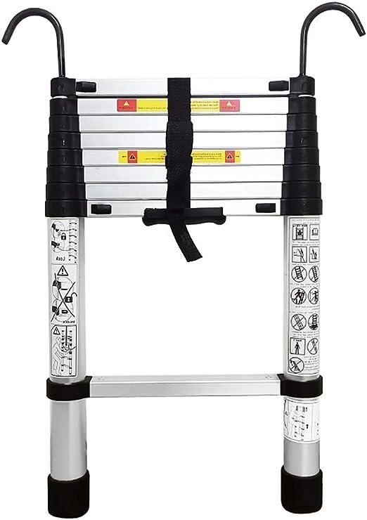 Escalera telescópica Las escaleras de telescopaje con estabilizador, inferior peldaño y desmontable Hook, un solo botón de retracción telescópica de aluminio Escalera, 330 lb Cargas (tamaño : 2m) : Amazon.es: Hogar