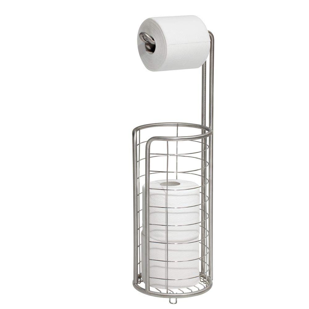 InterDesign Forma Free Standing Toilet Paper Holder – Dispenser and Spare Roll Storage for Bathroom, Brushed Stainless Steel