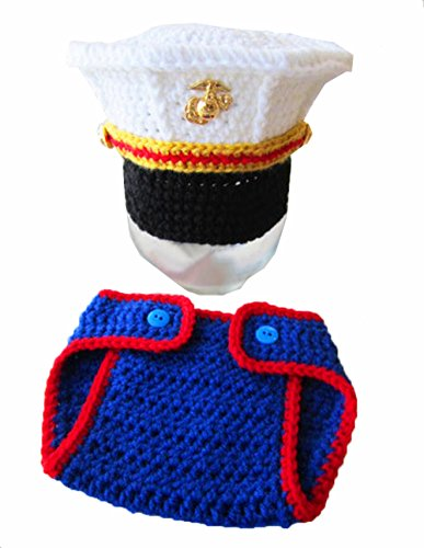Baby Photography Clothing, Newborn Baby Handmade Crochet Knitted Marines Outfit Photography Props For Sale