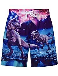 ALOOCA Boys Swim Trunks Quick Dry Casual Board Shorts Elastic Waist 3D Print Dinosaur Summer Surf Beach Pants with Mesh Lining 5-6T