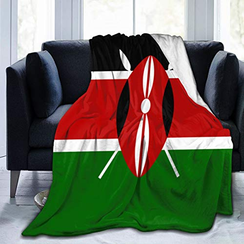 Throw Wrap Cover School Blankets for Bed Couch Chair Living Room, Sherpa Flannel Throw Wearable Cuddle for Kids Adults, Super Warm, Kenya Flag Wrap Sheet (Kenya Sofa)