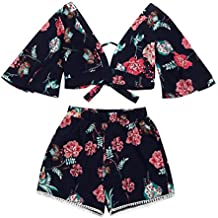 Women Blouse, ღ Ninasill ღ Hot Sale ! Two Piece Set Women Botanical Print Summer V Collar Tops T Shirt Tank (S, Black)