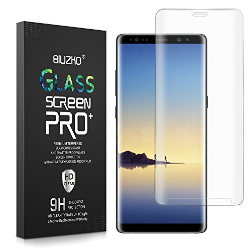 Galaxy Note 8 Screen Protector,BIUZKO Full Coverage Anti-Scratch, Anti-Fingerprint, Easy to Install Curved Tempered Glass Screen Protector for Samsung Galaxy Note 8 2017(Clear)