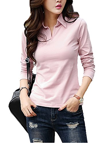 Cotton Long Sleeve Polo T-shirt (Smartprix Womens Long Sleeve Polo Shirts Cotton V Neck Solid Color Tops Tshirt XX-Large Pink)