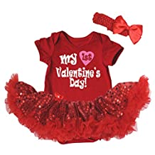 Petitebella My 1st Valentine's Day Bodysuit Red Sequins Tutu Nb-18m