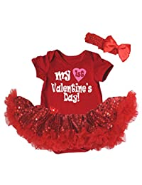 Petitebella My 1st Valentine's Day Bodysuit Red Sequins Tutu Nb-18m