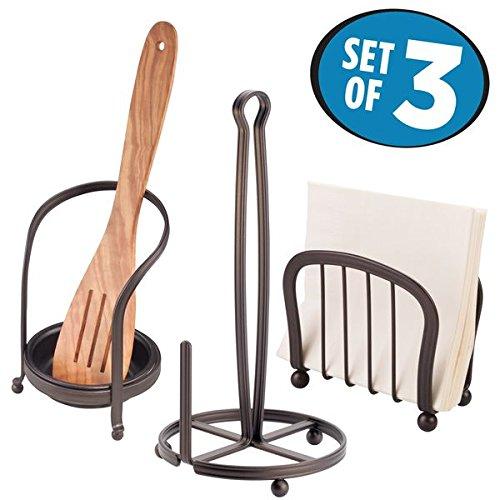 mDesign Kitchen Counter Accessory Set, Spoon Rest, Paper Towel Stand, Napkin Holder - Set of 3, (Napkin Holder Set)